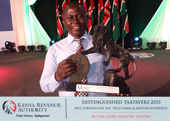 Lawrence Muema with the Taxpayers Award