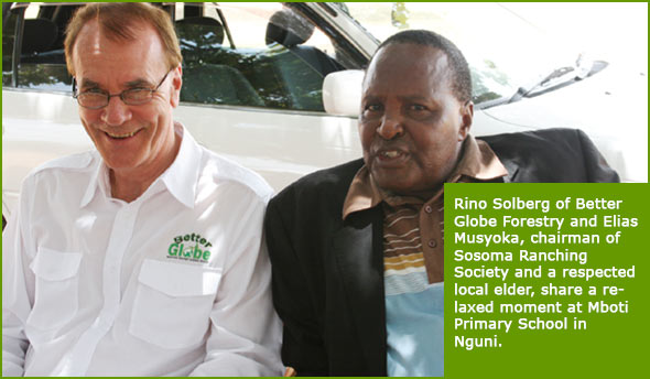 Rino Solberg of Better Globe Forestry and Elias Musyoka, chairman of Sosoma Ranching Society