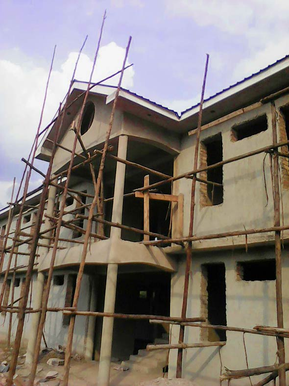 One of the first two school buildings that is under construction in Uganda