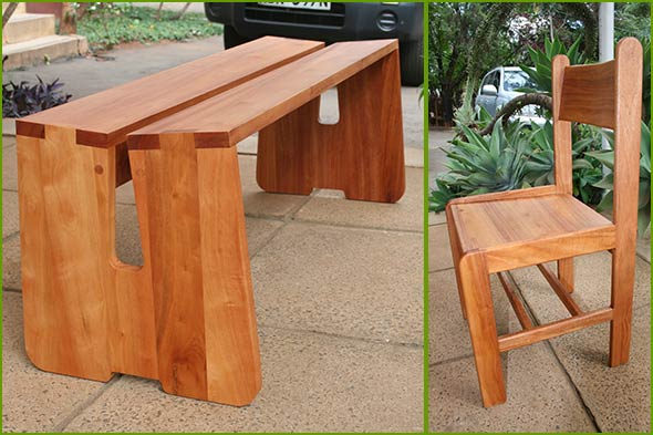 Bench and office chair made from mukau wood.