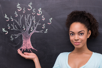 afro-american woman money on tree