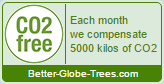 CO2 free seal - Each month we compensate 5000 kilos of CO2