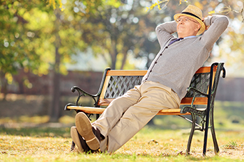 relaxed pensioner sitting